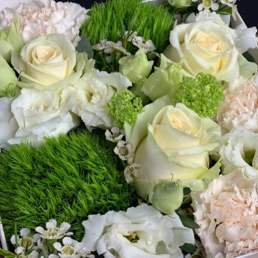 Flower box, boite à fleurs couleur blanc et vert, Des Lys & Délices, Sion
