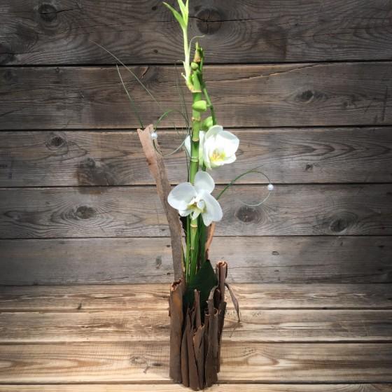 Arrangement bambou et orchidée, Des Lys & Délices, Sion
