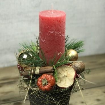 Arrangement avec bougie dans un pot festif, Des Lys, Artisan fleuriste, Sion