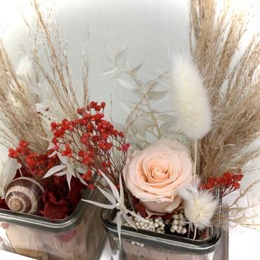 Fleurs séchées dans petit pot duo, Des Lys & Délices, Fleuriste à Sion