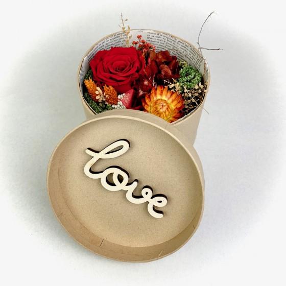 Fleurs séchées dans boite à chapeau Love, Des Lys & Délices, Fleuriste à Sion