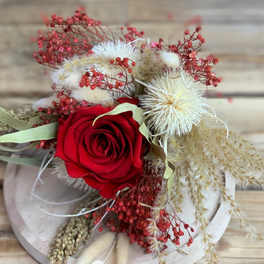 Bouquet de fleurs séchées sous cloche, Des Lys & Délices, Fleuriste à Sionv